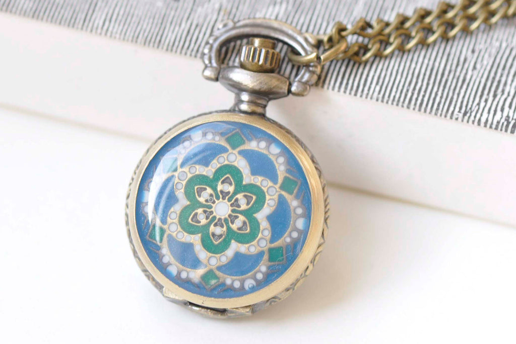1 PC Bronze Blue Enamel Flower Small Pocket Watch Necklace A1178