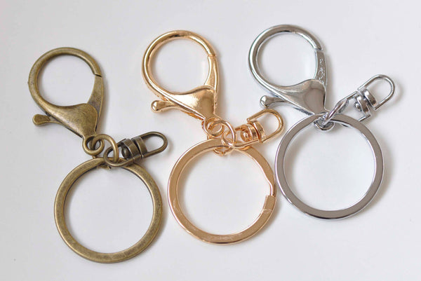 10 pcs Large Keychain Key Ring Clasps Antique Bronze/Light Gold/Rhodium