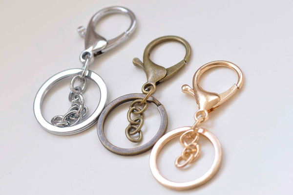 10 pcs Keychain Key Ring Clasps Antique Bronze/Light Gold/Rhodium