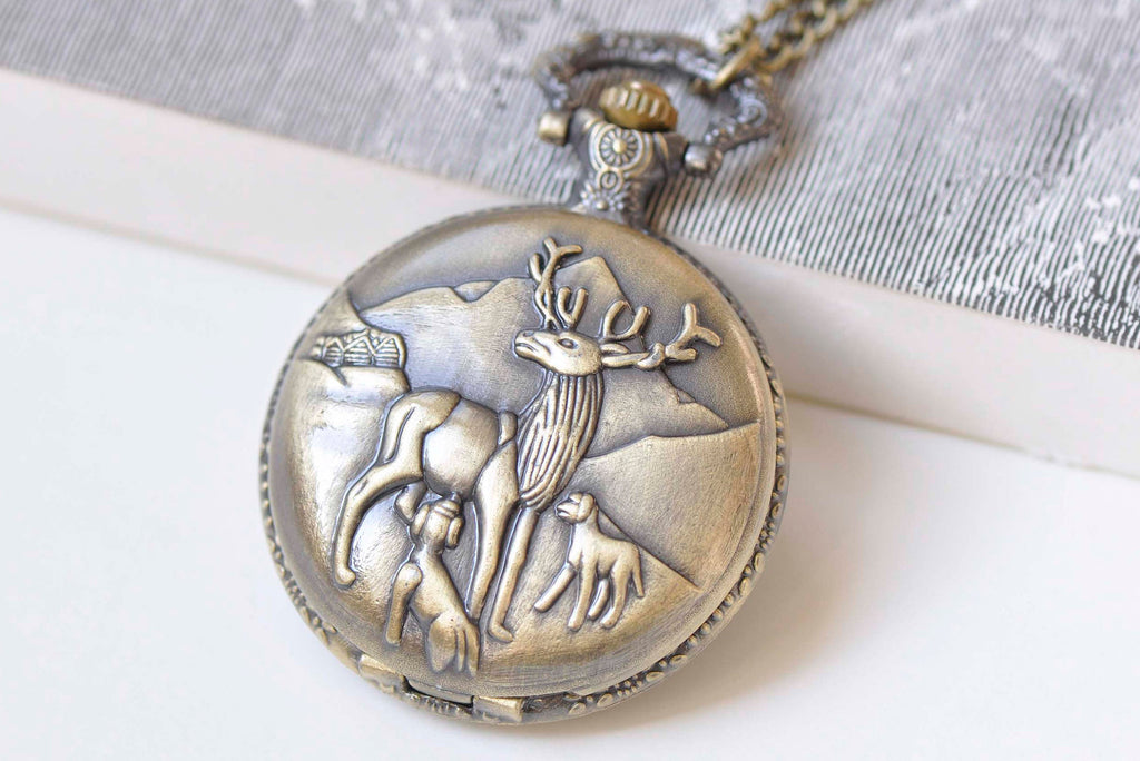 1 PC Antique Bronze Large Reindeer Pocket Watch Necklace 47mm A4149