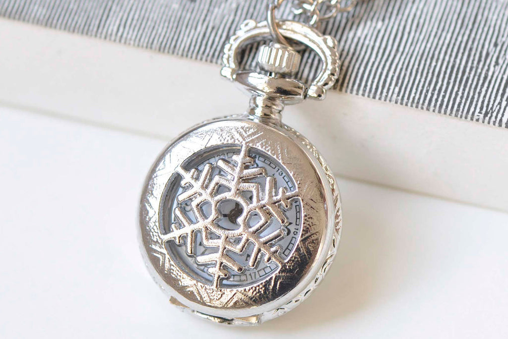 1 PC Platinum Small Snowflake Cover Pocket Watch Necklace 27mm A2194