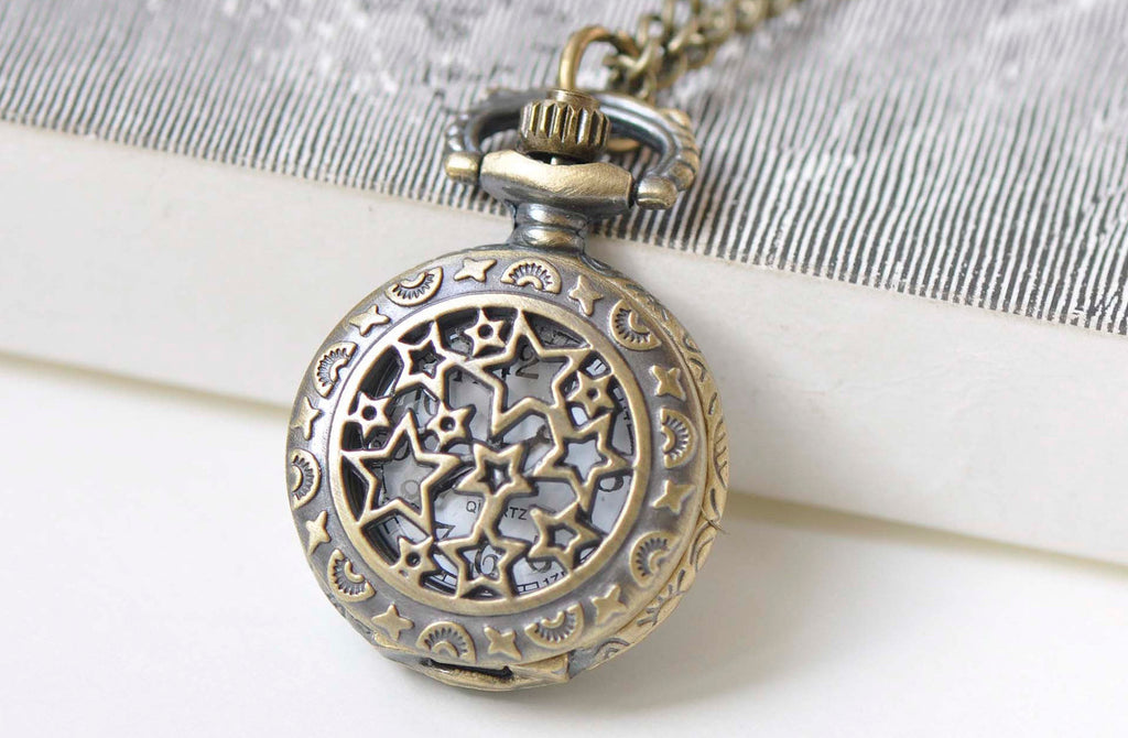 1 PC Antique Bronze Star Pocket Watch Necklace A6781