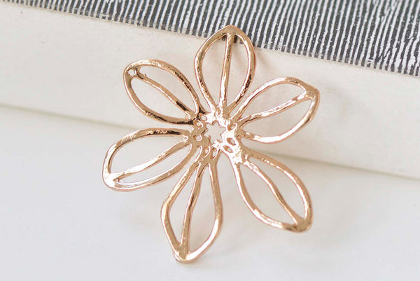 2 pcs 24K Champagne Gold Flower Earring Pendants  26x30mm A7185