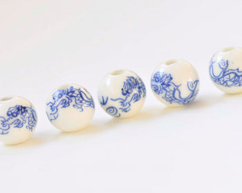 20 pcs Dragon Blue Porcelain Beads 6mm/8mm/10mm/12mm/14mm