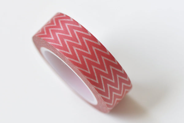 Red Chevron Wave Masking Washi Tape 15mm x 10M Roll A13299