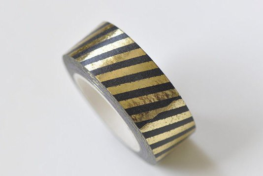 Gold Stripes Deco Washi Tape 15mm x 10M Roll A13303