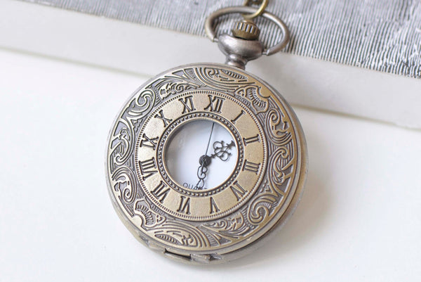 Antique Bronze Double Numerals Pocket Watch Necklace Set of 1 A6610