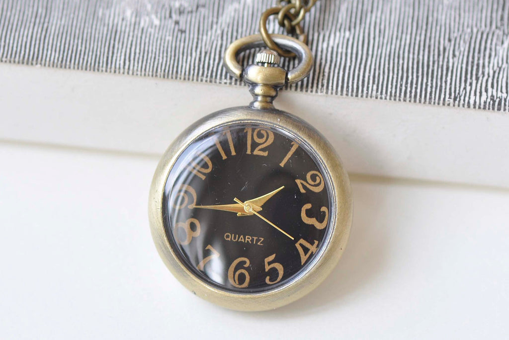 Antique Bronze Small Black Pocket Watch Necklace Set of 1 A1447