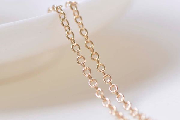 6.6ft (2m) 24K Champagne Gold Oval Cable Chain Link 2mm A2382