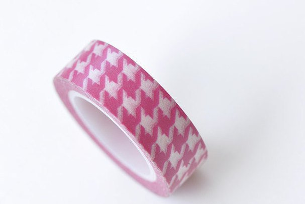 Pink Houndstooth Self-Adhesive Washi Tape 15mm Wide x 10M Roll A13325