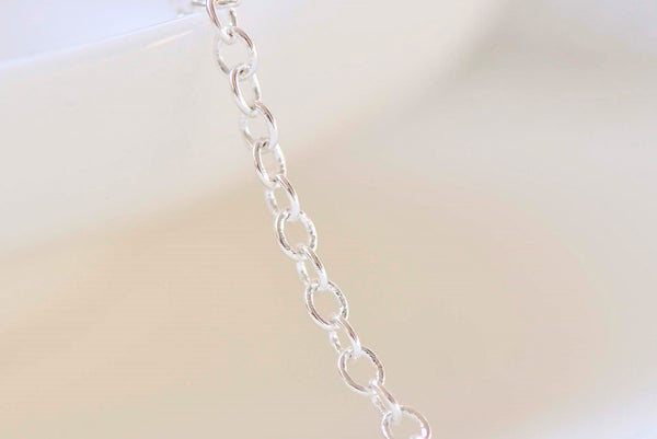 16ft (5m) Shiny Silver Plated Oval Cable Chain Soldered Links 2mm A5475