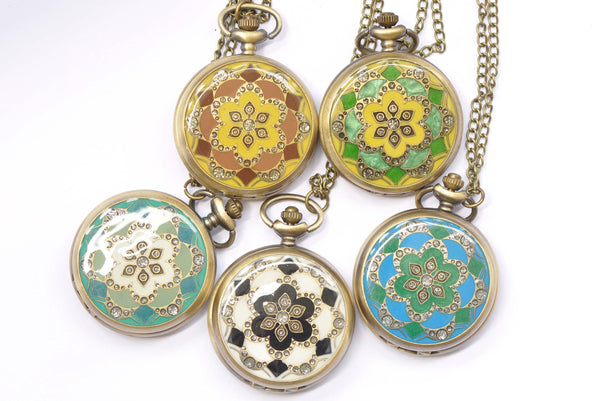 1 PC Antique Bronze Enamel Flower Large Pocket Watch Necklace 47mm