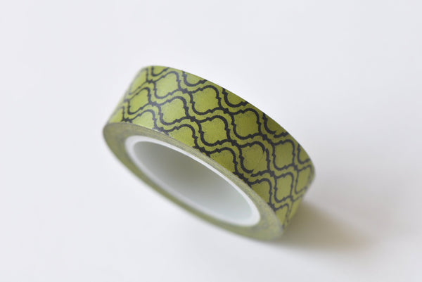 Fancy Green Pattern Washi Tape 15mm x 10M Roll A13251