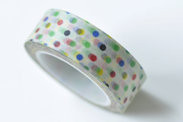 Colorful Polka Dots Washi Tape 15mm Wide x 10M Roll A13259