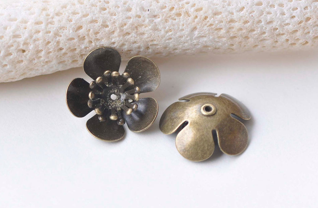 10 pcs Antique Bronze Brass 3D Plum Flower Bead Caps Findings A2199