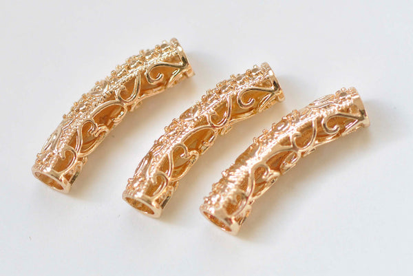 4 pcs 24K Champagne Gold Brass Curved Fancy Floral Tubes A384
