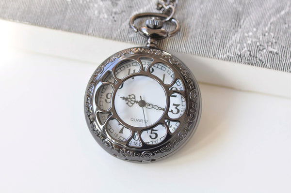 1 PC Gunmetal Black Round Pocket Watch Necklace A5310