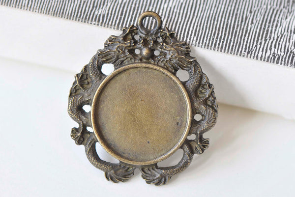 Antique Bronze Dragon Pendant Tray 20mm Cabochon  Set of 10 A3262