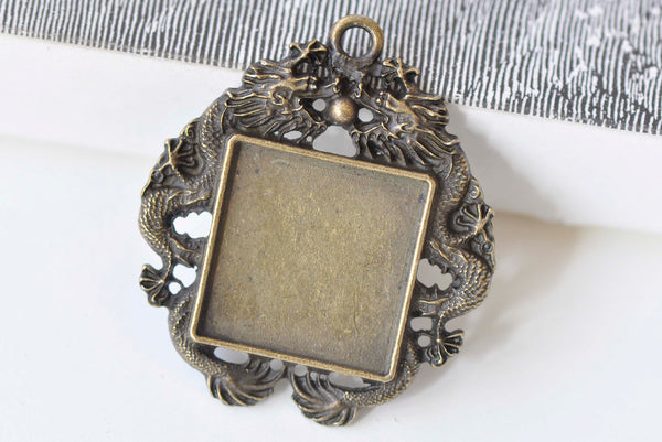 Antique Bronze Square Dragon Pendant Tray 20mm Set of 10 A6653