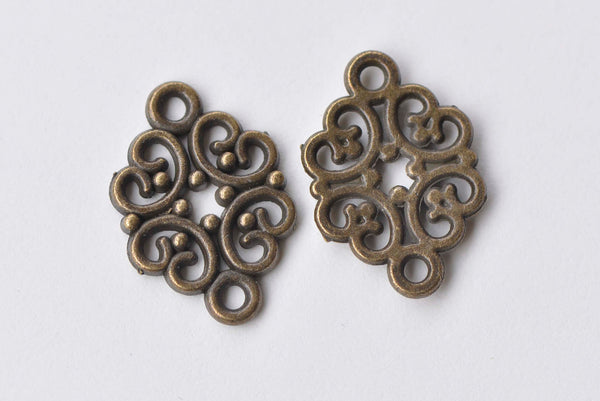 Antique Bronze Filigree Connector 13x20mm Set of 30 A5793