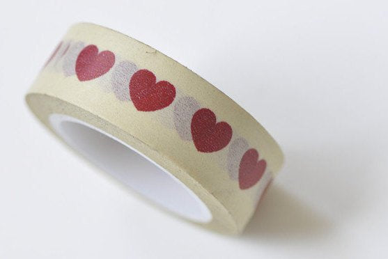 Red Love Heart Masking Washi Tape 15mm x 10M A13296