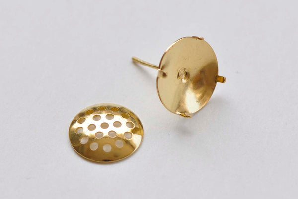 10 Pairs Gold Perforated Sieve Earring Post A6185