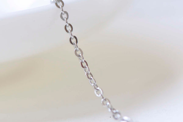 16ft (5m) Platinum Brass Flat Oval Fine Cable Chain 1mm A1359