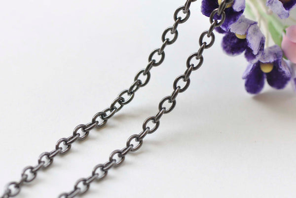 16ft (5m) of Gunmetal Black Oval Link Cable Chain 3x4mm A1043