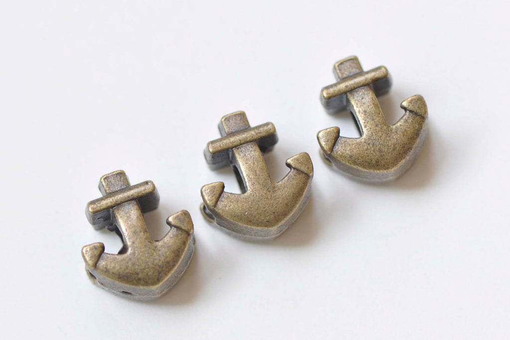 30 pcs Antique Bronze Anchor Spacer Beads 12x13mm A3542