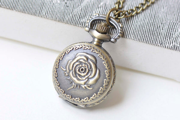 Antique Bronze Rose Flower Small Pocket Watch Necklace Set of 1 A2071
