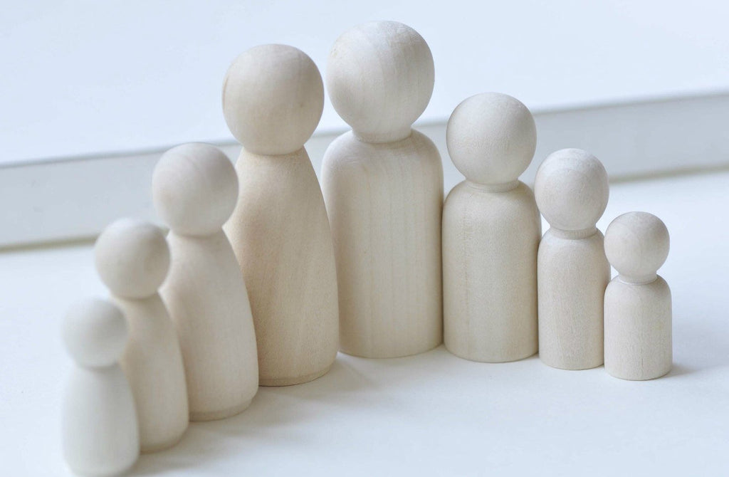 Unfinished Solid Wood Peg Toy People Family Doll Bodies Set of 6