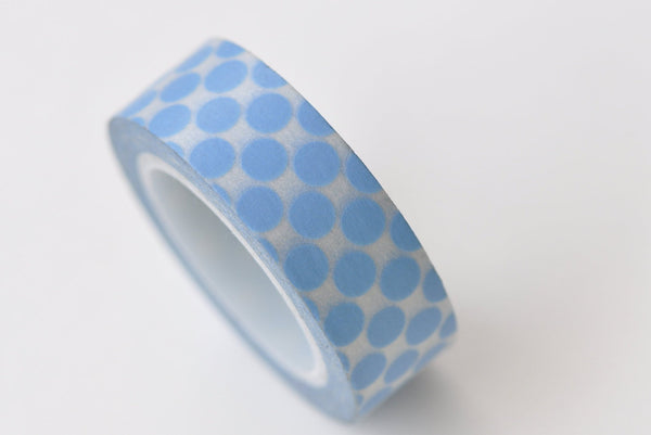Lovely Blue Polka Dots Adhesive Washi Tape 15mm Wide x 10M Roll A13316