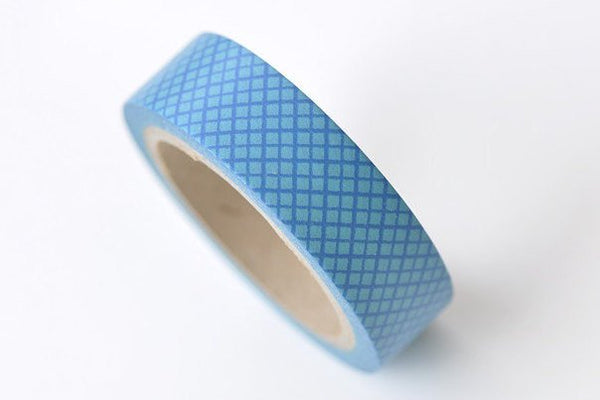 Blue Grid Pattern Washi Tape Journal Supplies 15mm Wide x 5M Roll A13322