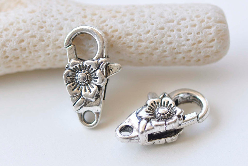10 pcs Antique Silver Flower Lobster Clasps 11x24mm A2356