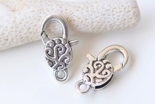 10 pcs Antique Silver Swirly Lobster Clasps 13x30mm A4632