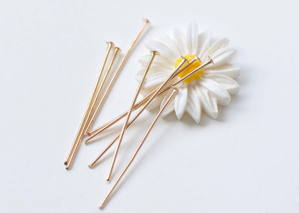 300 pcs Light Gold Tone Iron Headpins 35mm (1.4 Inches) A4581