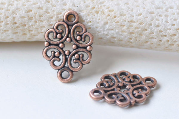 Antique Copper Filigree Connector 13x20mm Set of 30 A7518