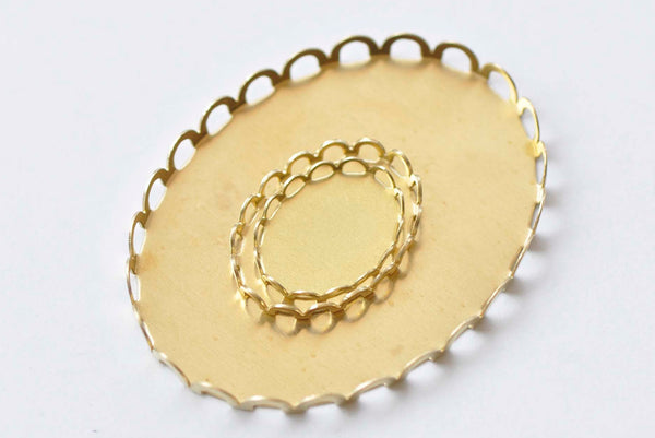 10 pcs Raw Brass Oval Pendant Tray Blanks Scalloped Edge