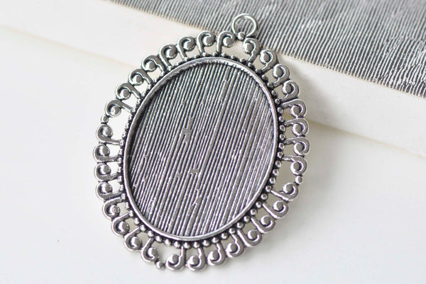 6 pcs Antique Silver Oval Pendants Tray 30x40mm Bezel A7701