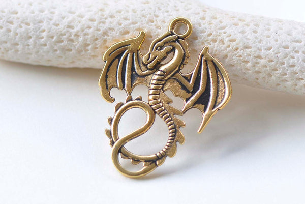 10 pcs Antique Gold Flying Dragon Charms Pendants 27x34mm A1088
