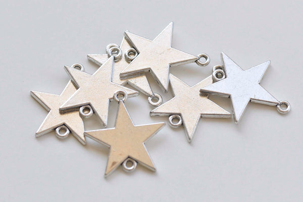 20 pcs of Antique Silver Star Connector Charms Pendants 28mm A6839