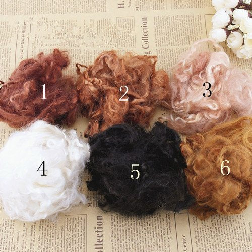 Angora Goat Mohair Wool Curls For Doll Hair Felting 5G(0.17 OZ) A Pack