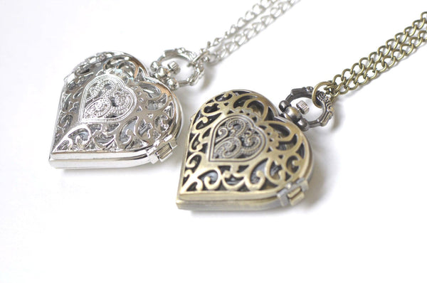 1 PC Antique Bronze/Platinum Heart Pocket Watch Necklace