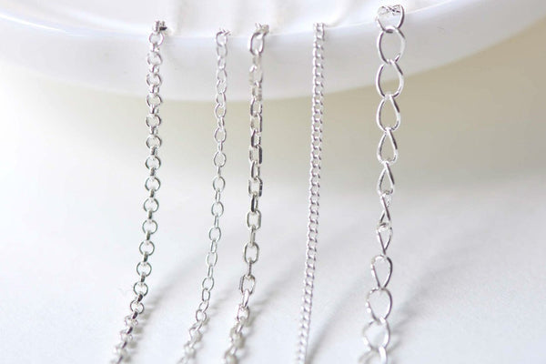 3.3 ft (1m) Polished Sterling Silver Rolo Oval Cable Curb Chain