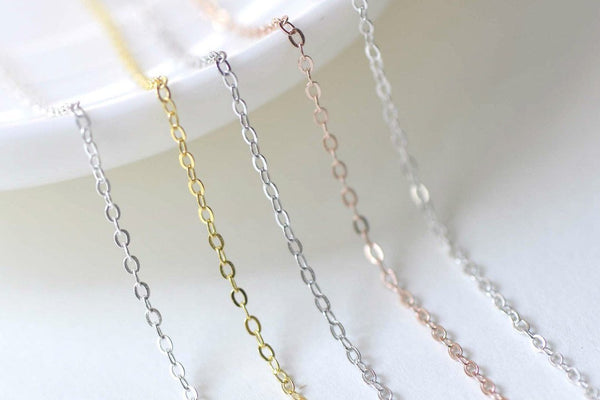 3.3ft Sterling Silver Flat Oval Cable Chain Silver/Platinum/Gold/Rose Gold