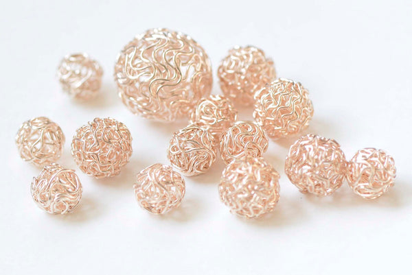 10 pcs Rose Gold Iron Hollow Wire Knots Ball Beads 10mm/12mm/18mm