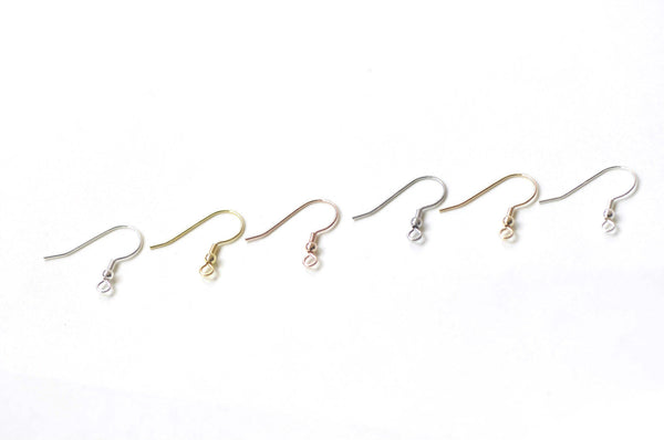 4 pcs (2 Pairs) Solid 925 Sterling Silver Ball Earring Hook Earwires Findings