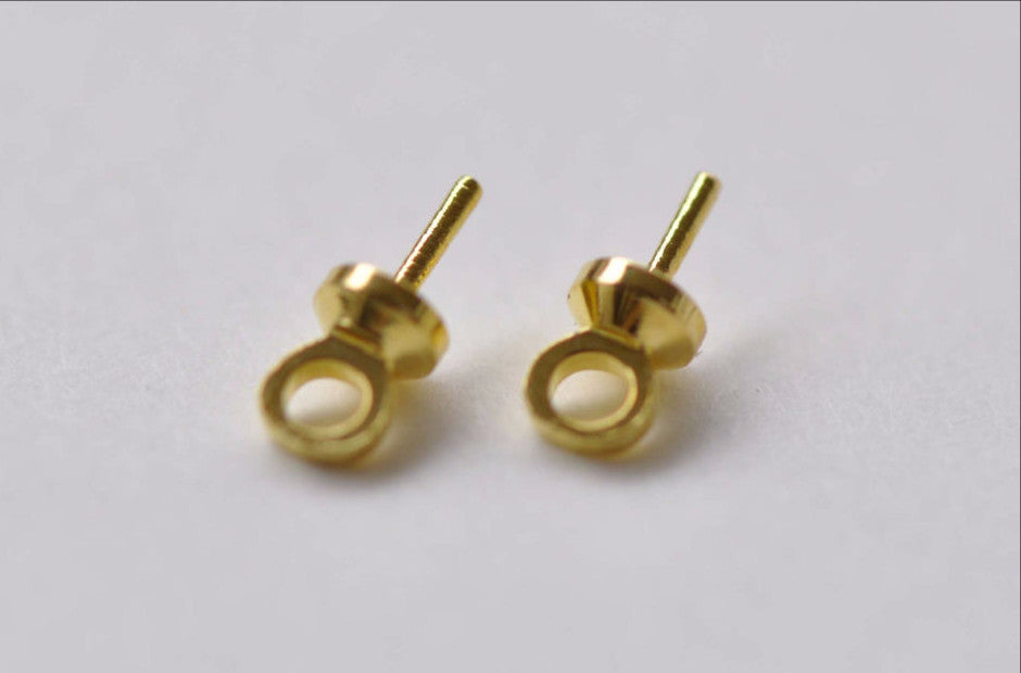 50 pcs Gold Peg For Half Drilled Pearls Beads 6mm A7907