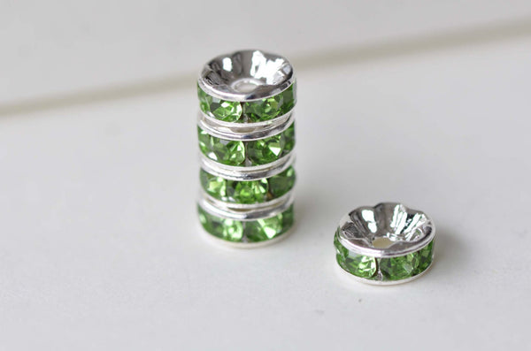 10 pcs Silver Olive Green Rhinestone Rondelle Spacer Beads 8mm A7904