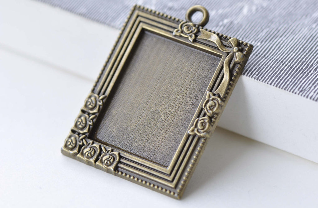 Rectangle Base Settings Flower Photo Frame Pendant Tray A7935